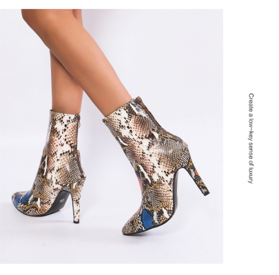 Point-toe Snakeskin Stiletto Short Boots Nihaostyles Clothing Wholesale NSYUS84468