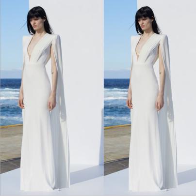 Sexy Long-sleeved Deep V White Dress Nihaostyles Wholesale Clothing NSYIS85104