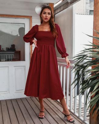 Flared Sleeve Long-sleeved Pleated Dress Nihaostyles Clothing Wholesale NSMY84390
