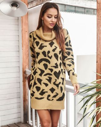 Leopard Print Knitted Turtleneck Dress Nihaostyles Clothing Wholesale NSMY84389