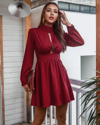 Solid Color High Neck Long Sleeve Pleated Dress Nihaostyles Clothing Wholesale NSMY84394