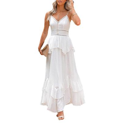 Pure Color V-neck Stitching Irregular Dress Nihaostyles Clothing Wholesale NSZH84494