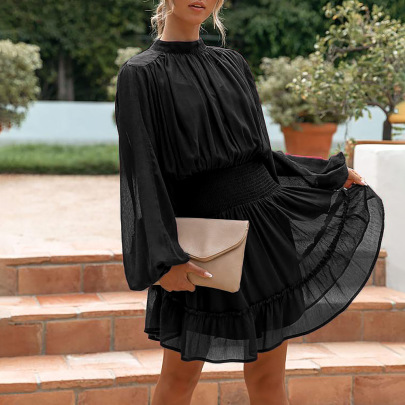 Solid Color Bubble Sleeve Round Neck Dress Nihaostyles Clothing Wholesale NSZH84496