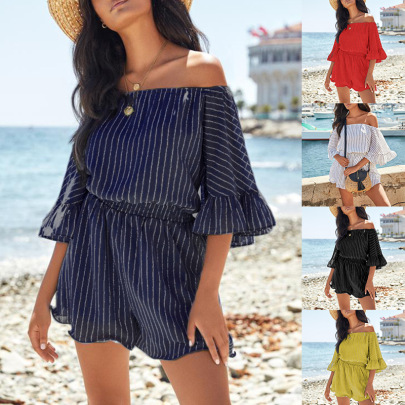 Striped Printing Short Sleeves Off Shoulder Dress Nihaostyles Clothing Wholesale NSZH84502