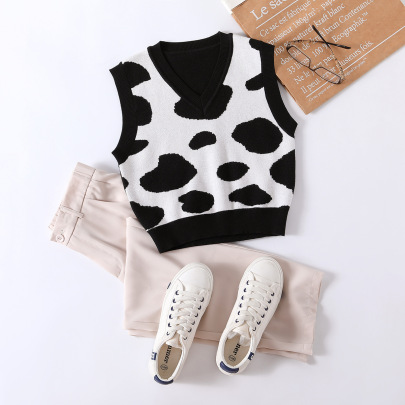 Pattern Printed Loose Knitted Vest Nihaostyles Clothing Wholesale NSJM84511
