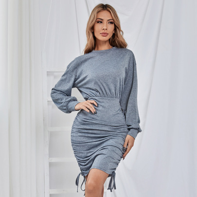Solid Color Round Neck Pleated Dress Nihaostyles Clothing Wholesale NSJM84519