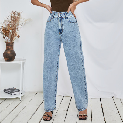 Straight Loose High Waist Jeans Nihaostyles Clothing Wholesale NSJM84554