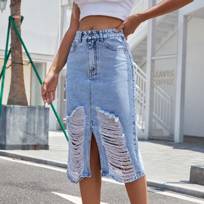 High Waist Ripped Denim Skirt Nihaostyles Clothing Wholesale NSJM84556