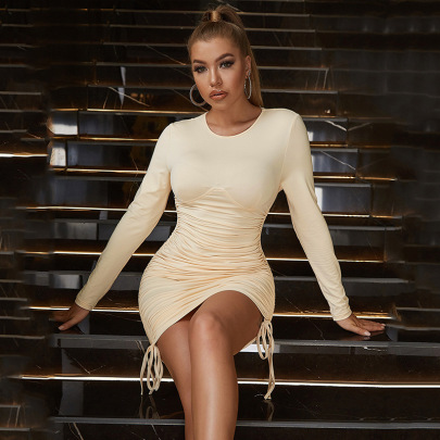 Pure Color Drawstring Long-sleeved Package Hip  Pleated Tight Dress Nihaostyles Wholesale Clothing NSGHW84660