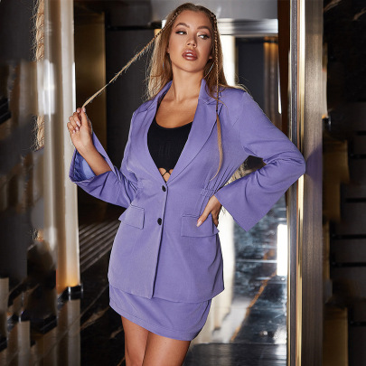 Sexy V-neck Solid Color Single-breasted Cuff Slits Blazer Nihaostyles Wholesale Clothing NSGHW84665