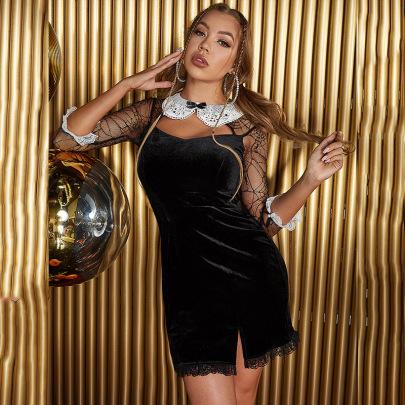 Velvet Lace Stitching Long-sleeved Slit Hem Dress Nihaostyles Wholesale Clothing NSGHW84666