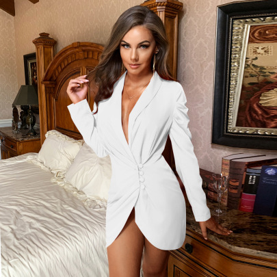 Deep V Single-breasted Long-sleeved Suit Dress Nihaostyles Wholesale Clothing NSGHW84668