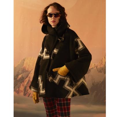 Long-sleeved Hooded Printed Woolen Coat Nihaostyles Clothing Wholesale NSYIS85460