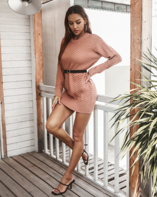 Solid Color Knitted Dress With Belt Nihaostyles Clothing Wholesale NSMY84391
