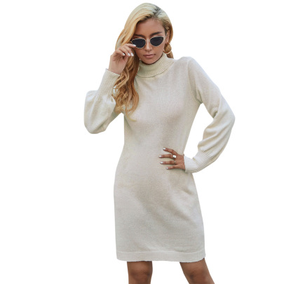 Solid Color Long-sleeved Knitted Dress Nihaostyles Clothing Wholesale NSJM84518