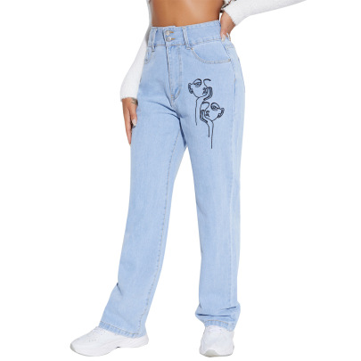 High-waist Printing Bootcut Jeans Nihaostyles Clothing Wholesale NSJM84515