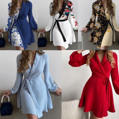 V-neck Long-sleeved Lace-up Slim Dress Nihaostyles Wholesale Clothing NSXIA85138