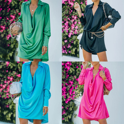 Solid Color Low Neck Long-sleeved Dress Nihaostyles Wholesale Clothing NSXIA85137