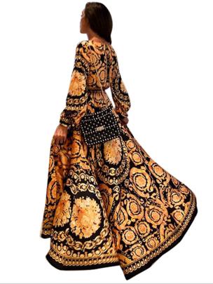 Sexy Deep V Slit Print Long-sleeved Mopping Dress Nihaostyles Wholesale Clothing NSYIS85134