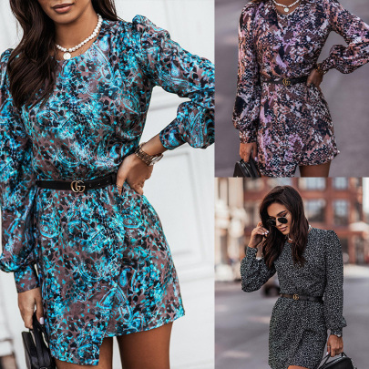 Round Neck Long-sleeved Print Dress Nihaostyles Wholesale Clothing NSXIA85133