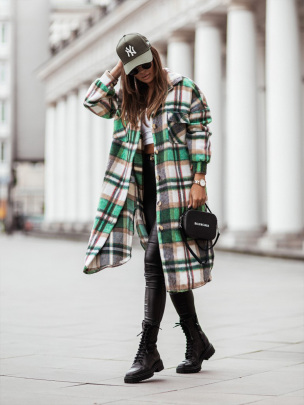 Long-sleeved Plaid Single-breasted Overcoat Nihaostyles Wholesale Clothing NSXIA85130