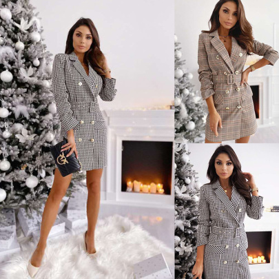 V-neck Long-sleeved Plaid Double-breasted Belted Suit Dress Nihaostyles Wholesale Clothing NSXIA85073