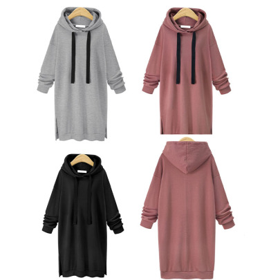 Long-sleeved Solid Color Hooded Drawstring Sweatershirt Dress Nihaostyles Wholesale Clothing NSXIA85126