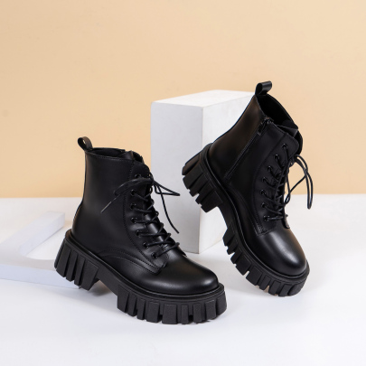Mid Chunky Heel Lace-up Boots Nihaostyles Clothing Wholesale NSYUS83543
