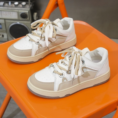 Flat Lace Color Matching Sneakers Nihaostyles Clothing Wholesale NSYUS83541