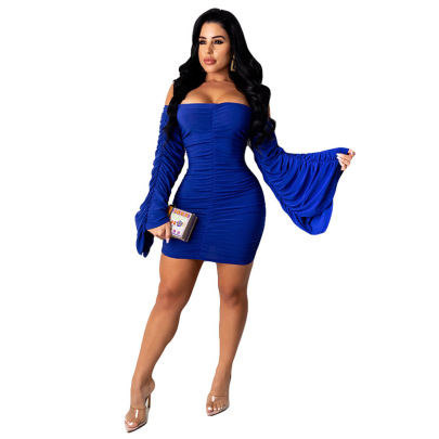 Solid Color Off-shoulder Wide Long-sleeved Pleated Tight Dress Nihaostyles Wholesale Clothing NSMYF84701