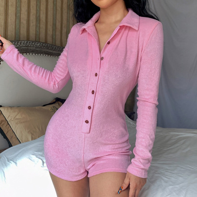 Tight-fitting Lapel Button Long-sleeved Jumpsuit Nihaostyles Clothing Wholesale NSRUI84721