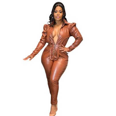 Bubble Shoulder Lapel Zipper Leather Pleated Jumpsuit Nihaostyles Clothing Wholesale NSMFF84727