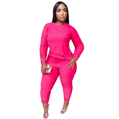Solid Color Round Neck Thick Knitted Set Nihaostyles Clothing Wholesale NSME84737