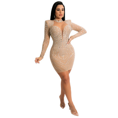 Sexy Perspective Wrapped Chest Package Hip With Hot Drilling Dress Nihaostyles Wholesale Clothing NSCYF84775