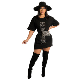 solid color round neck hot drilling long T-shirt dress nihaostyles wholesale clothing NSCYF84785