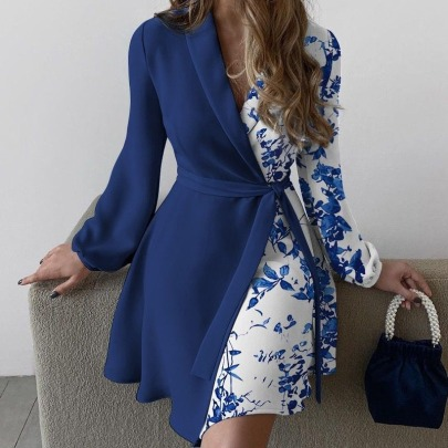 Floral Print Lapel Long-sleeved Dress Nihaostyles Clothing Wholesale NSCX84787