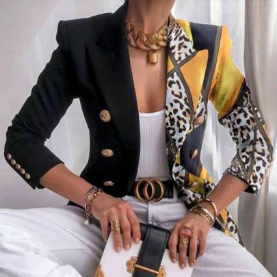 Print Slim Double-breasted Short Blazer Nihaostyles Wholesale Clothing NSFM84813