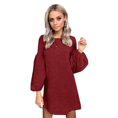 Solid Color Long-sleeved Knitted Dress Nihaostyles Wholesale Clothing NSFM84815