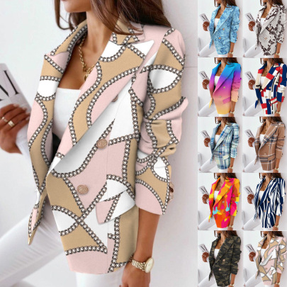 Long-sleeved Double-breasted Print Blazer Nihaostyles Wholesale Clothing NSFM84822
