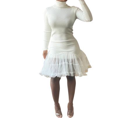 High-neck Long-sleeved Tight Mesh Hem Stitching Sweater Dress Nihaostyles Wholesale Clothing NSALI84840