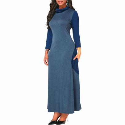 High Neck Long-sleeved Imitation Cashmere Dress Nihaostyles Wholesale Clothing NSALI84841
