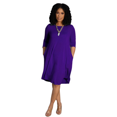 Long-sleeved Solid Color Casual Dress Nihaostyles Wholesale Clothing NSALI84848