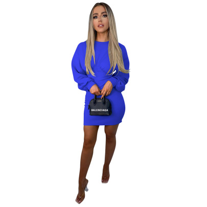 Solid Color Loose Long-sleeved Dress Nihaostyles Clothing Wholesale NSCQ84864