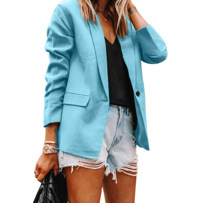 Lapel Slim Long-sleeved Pure Color Blazer Nihaostyles Wholesale Clothing NSBTY84871