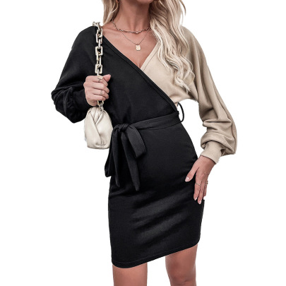 V-neck Two-color Belted A-line Long-sleeved Dress Nihaostyles Wholesale Clothing NSDF84883