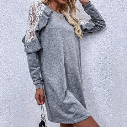 Gray Lace Stitching Petal Sleeve Dress Nihaostyles Wholesale Clothing NSDF84888