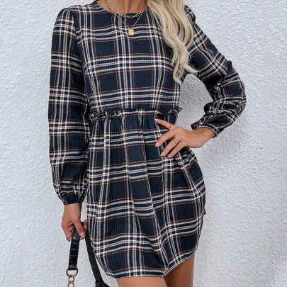 Casual Loose Long-sleeved Plaid Dress Nihaostyles Wholesale Clothing NSDF84897