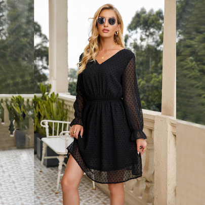V-neck Puff Sleeves Polka Dot Dress Nihaostyles Wholesale Clothing NSGYX84899