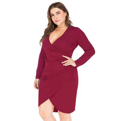 Plus Size Autumn Sexy V-neck Long-sleeved Slim Package Hip Dress Nihaostyles Wholesale Clothing NSJR84916