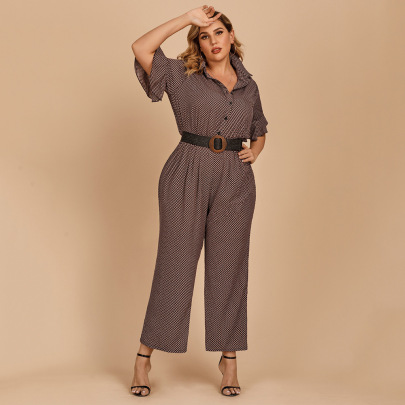 Lotus Leaf Short-sleeved Print Single-breasted Belted Shirt Jumpsuit Nihaostyles Wholesale Clothing NSJR84917